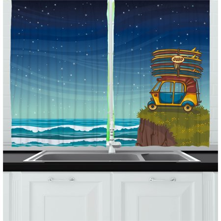 Ocean Curtains 2 Panels Set Cartoon Car With Surfboards Blue Night Waves Travel Summer