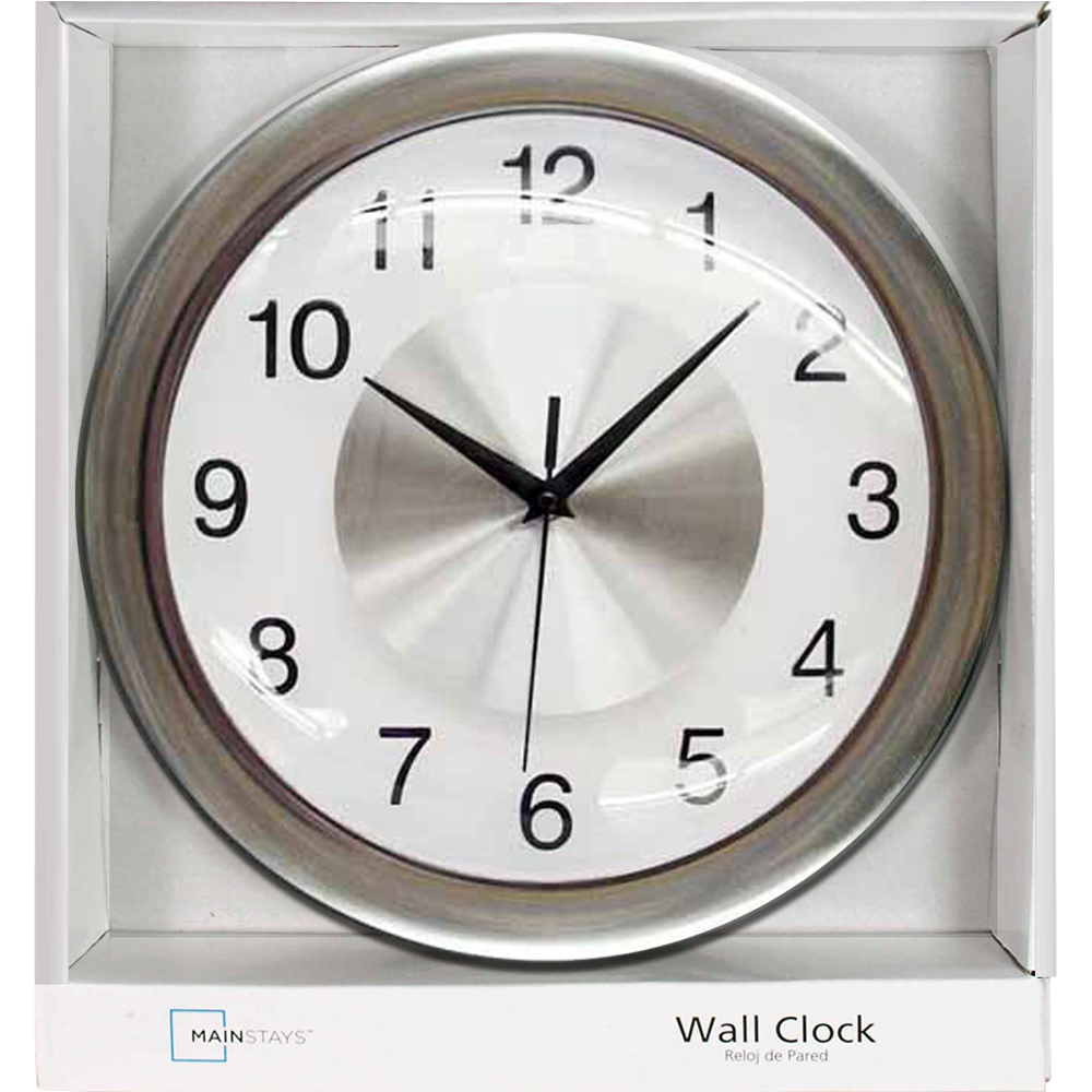 Mainstays Wall Clock, Brushed Chrome