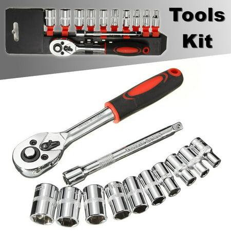 "12Pcs 1/4"" Ratchet Wrench Socket Set Hardware Vanadium Repairing Kit Hand  NEW - image 9 de 9"