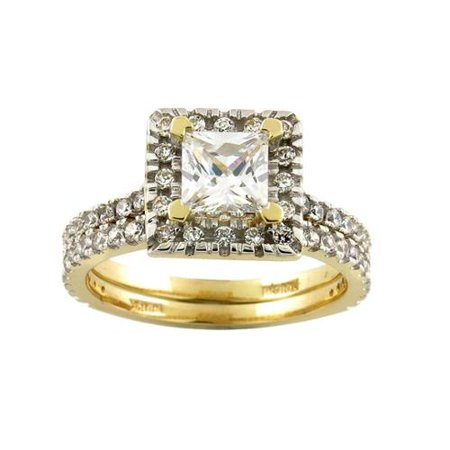 10K Yellow Gold Square CZ Bridal Ring 10k Yellow Gold Square Cubic Zirconia B