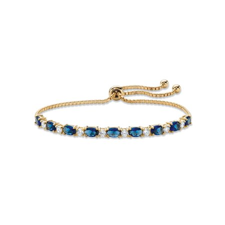 Simulated Blue Sapphire and Cubic Zirconia Adjustable Drawstring Bolo Bracelet 6.20 TCW 14k Gold-Plated 10""