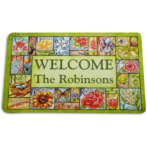 """Personalized Country Garden Patch Doormat, 17"""" x 27"""""""