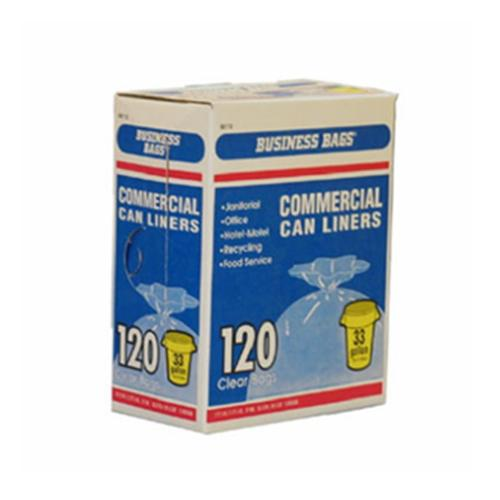 BERRY PLASTICS CORP Business Bags 120-Count 33-Gallon Clear Large Institutional Trash Bags