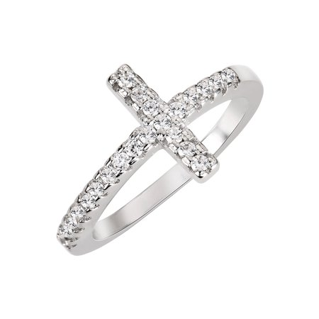 Christian Sideway Cross Cubic Zirconia Ring Sterling Silver 925 (Sizes 3-15) - Angry Birds Halloween 3-15 Three Stars