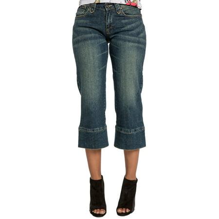 Sweet Vibes Junior Womens Gaucho Jeans Medium Blue Stretch Denim Cropped Capris
