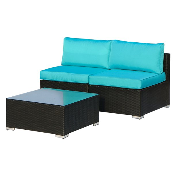 Outdoor Patio 3 Pieces Sofa Furniture All Weather Sectional Loveseat Wicker Armless Sofa Bistro Conversation Set with Coffee Table, Black Wicker Blue Cushions
