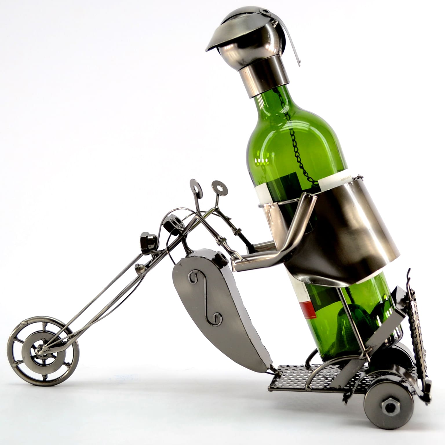 Image of 3starimex Wine Caddy Motorcyclist Wine Bottle Holder