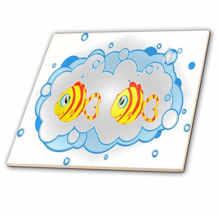 Little Cute Tile (3dRose Cute little fish art for kids room - Ceramic Tile, 6-inch )