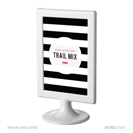 Make Your Own Trail Mix Modern Black and White Stripes Wedding Framed Party Signs - Minted Wedding