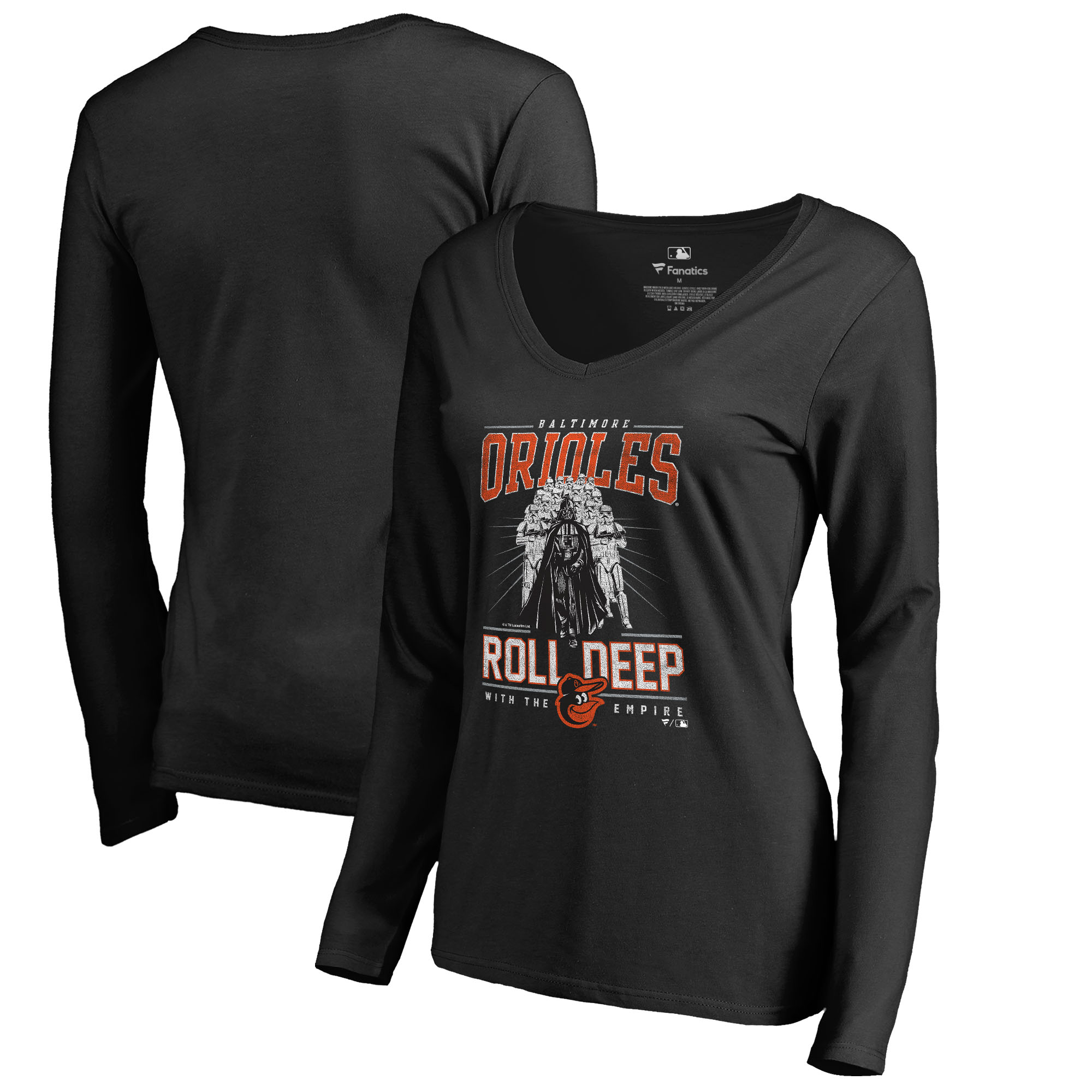 Baltimore Orioles Fanatics Branded Women's Roll Deep with the Empire Long Sleeve T-Shirt - Black