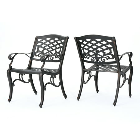 Myrtle Beach Outdoor Aluminum Dining Chairs Set Of 2 Shiny Copper