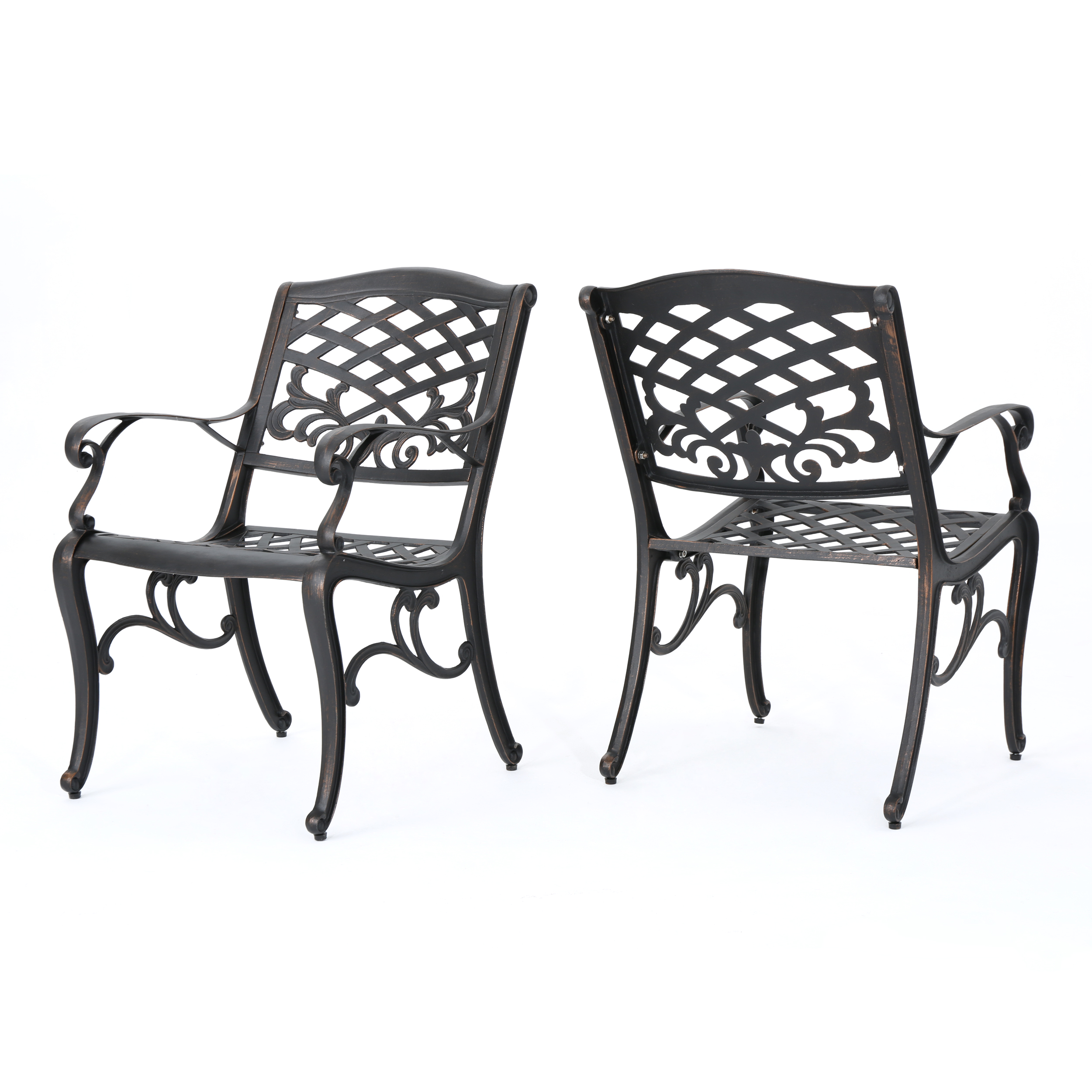 Myrtle Beach Outdoor Aluminum Dining Chairs, Set of 2, Shiny Copper
