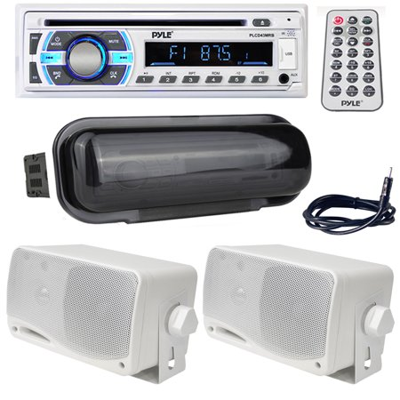 Marine Wire AntennaWhite Water Resistant Radio Shield3.5 200 Watt 3-Way Weather Proof Mini Box Speaker System (White)Marine Bluetooth Stereo Radio Headunit Receiver, Hands-Free Call Answering, CD P (Weatherproof Mini)