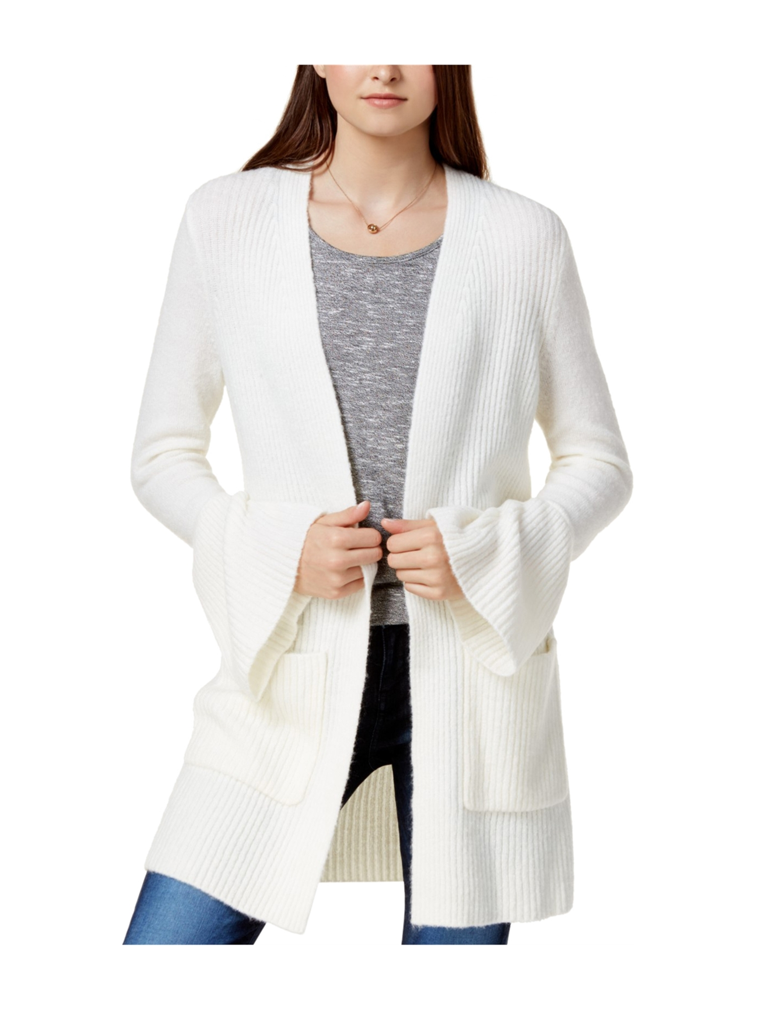Kensie Womens Bell Sleeve Cardigan Sweater frv L