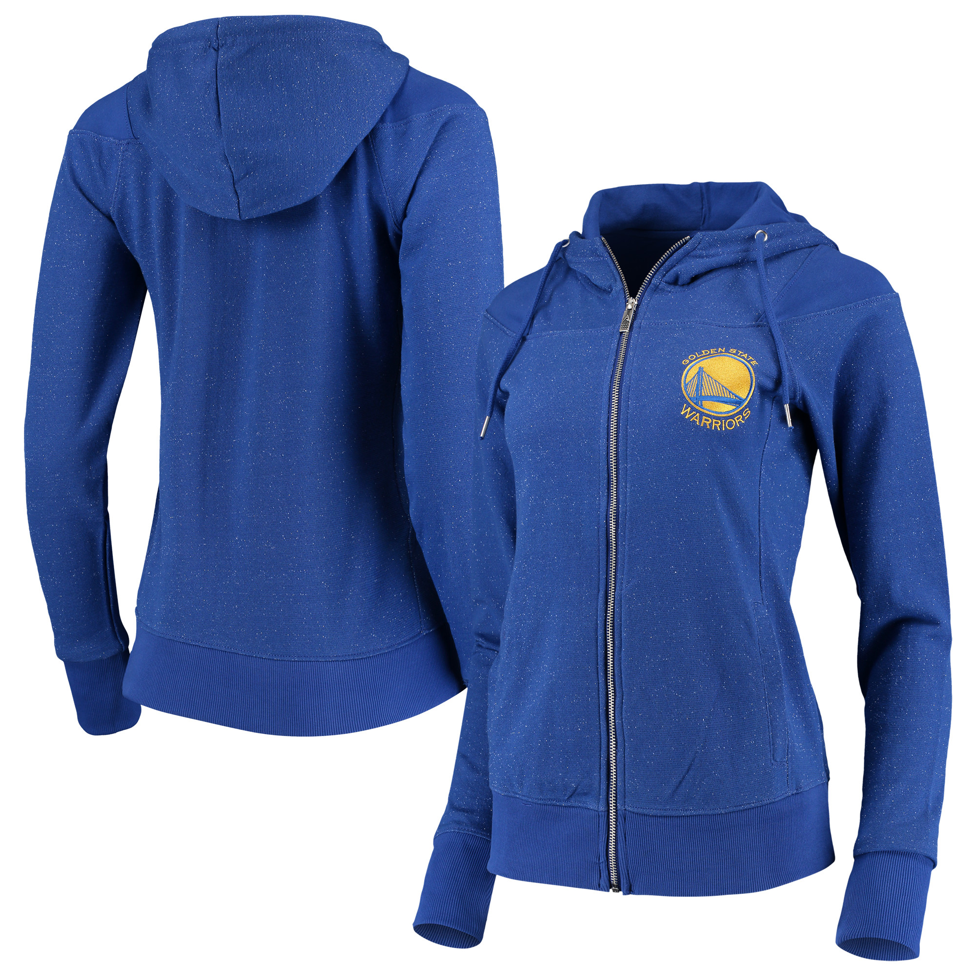 Golden State Warriors Antigua Women's Lineup Tri-Blend French Terry Full-Zip Hoodie - Heathered Royal