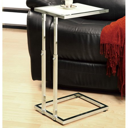 Metal Adjustable Height Accent Table with Tempered Glass, Chrome