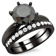 Noori Collection Noori 14k Black Gold 2 1/2ct Certified Six Prong Black Round Diamond Bridal Set