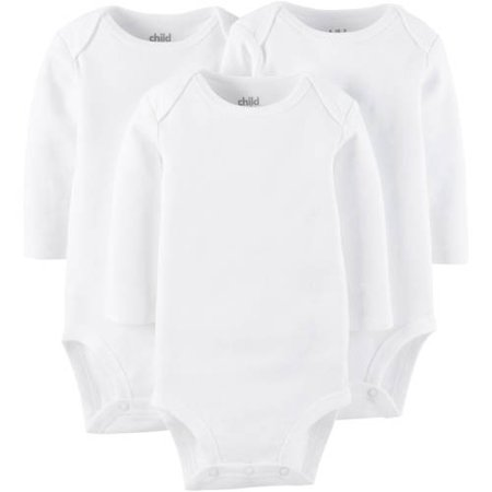 Child Of Mine By Carter's Long Sleeve White Bodysuits, 3-pack (Baby Boys or Baby Girls,