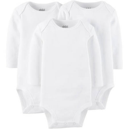 Long Sleeve Bodysuits, 3-pack (Baby Boys or Baby Girls Unisex)