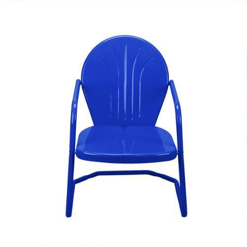 Outdoor Retro Metal Tulip Armchair, Blue