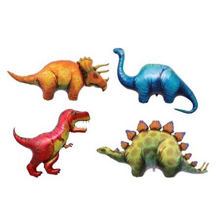 Set of 4 XL Dinosaur Foil Mylar Balloons Ancient Reptiles Jurassic Party Decor (Reptile Party)