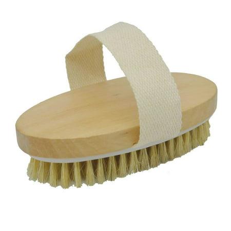 GLiving Dry Brushing Body Brush for Dry Skin Brushing & Exfoliating with 100% Natural Boar Bristles - full Body Brush Scrubber, Bath & Shower Brush, Face Brush, Cellulite Massager Brush