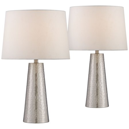 360 Lighting Modern Table Lamps Set of 2 Silver Leaf Hammered Metal Cylinder Off White Drum Fabric Shade for Living Room Bedroom