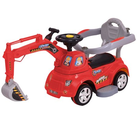 GHP Red Plastic Kids Excavator Digger Ride On Car Pulling Cart with Remote Control](Plastic Cars)