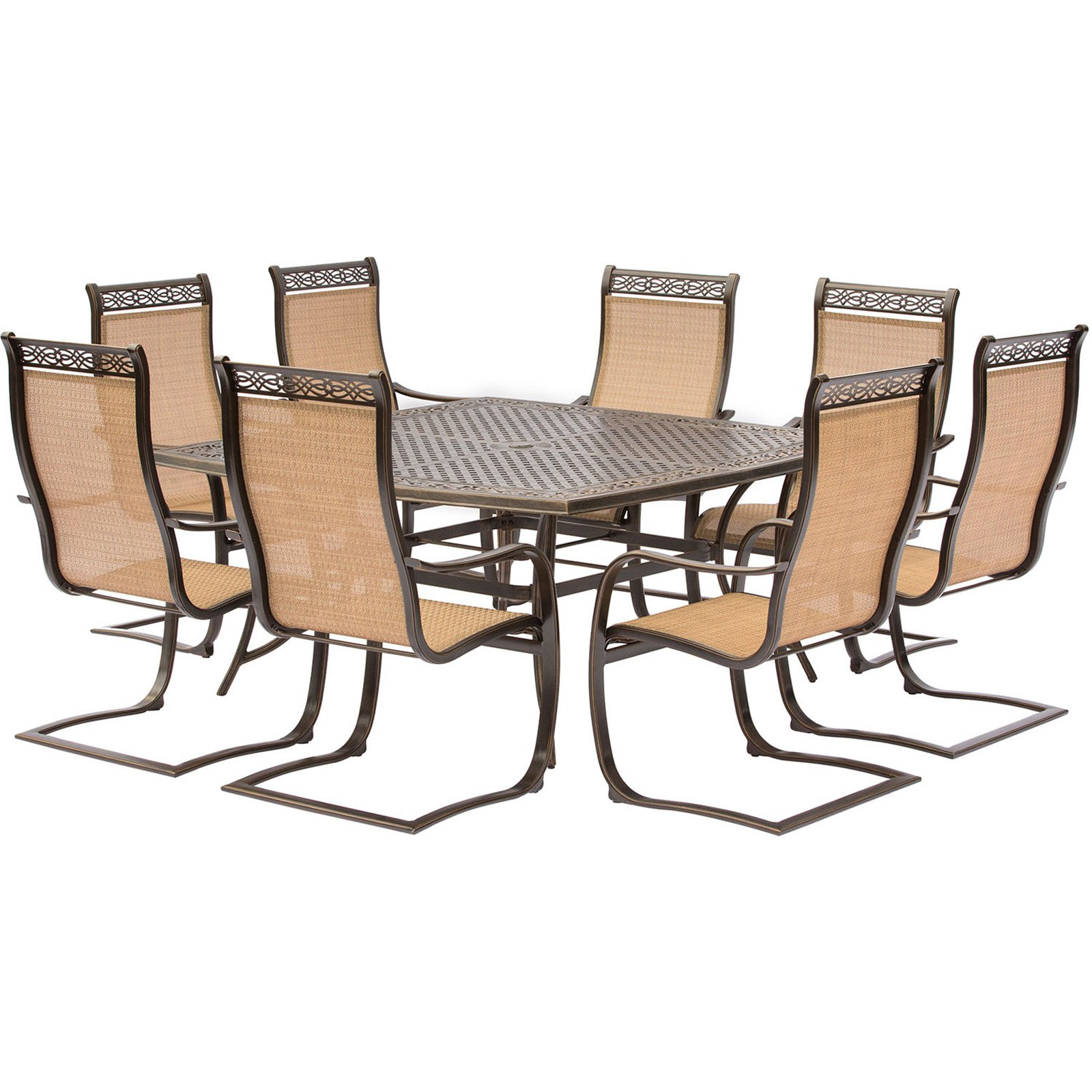 Hanover Manor 9-Piece Outdoor Dining Set with C-Spring Chairs and Square Table
