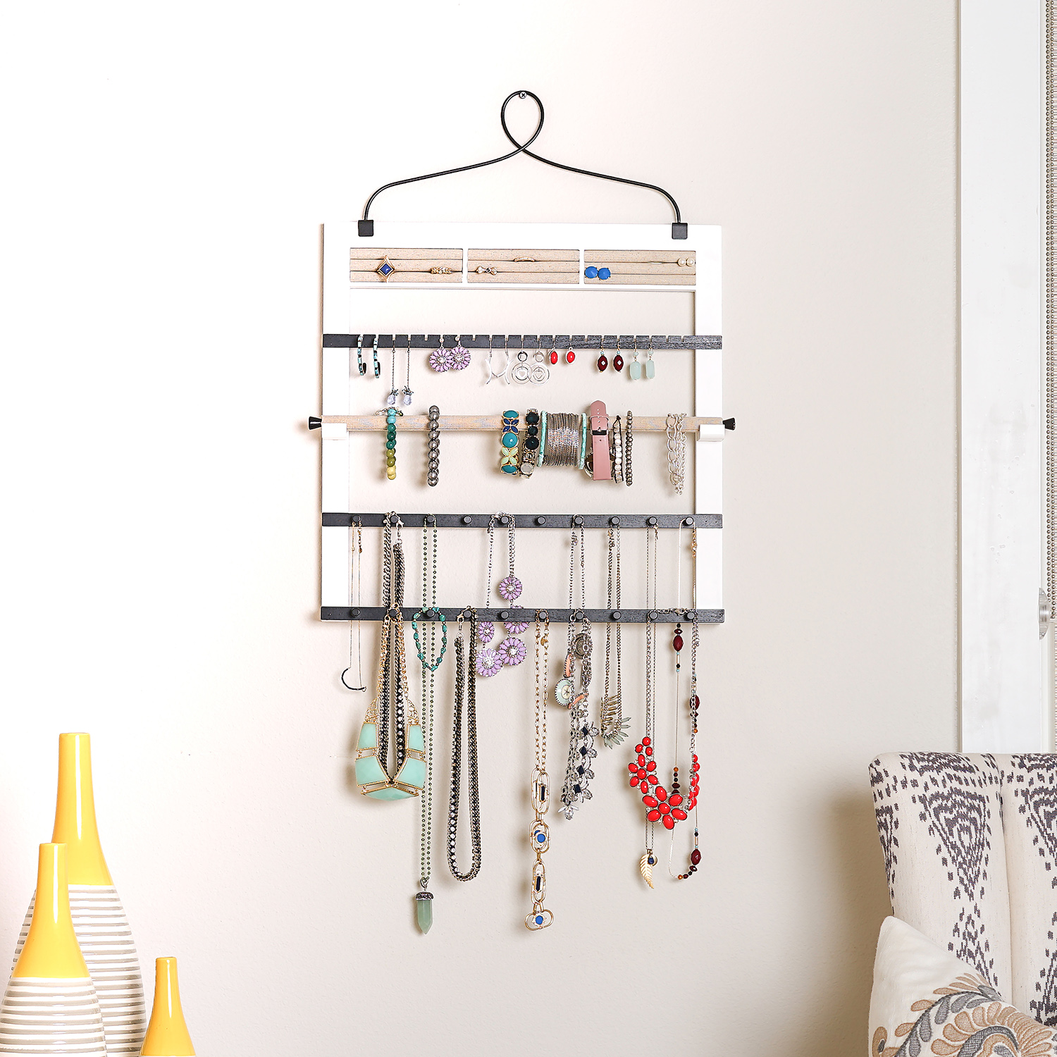Hives & Honey Jewelry Organizer with Bracelet Holder Rod, White