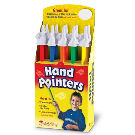 Mini Hand Pointers - Learning Resources Hand Pointers (Set of 10), Assorted