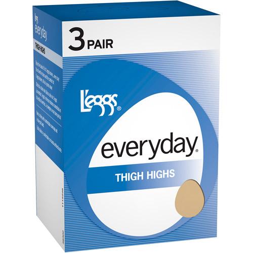 L'eggs Everyday Women's Light Sheer Thigh High Hosiery 3-Pair