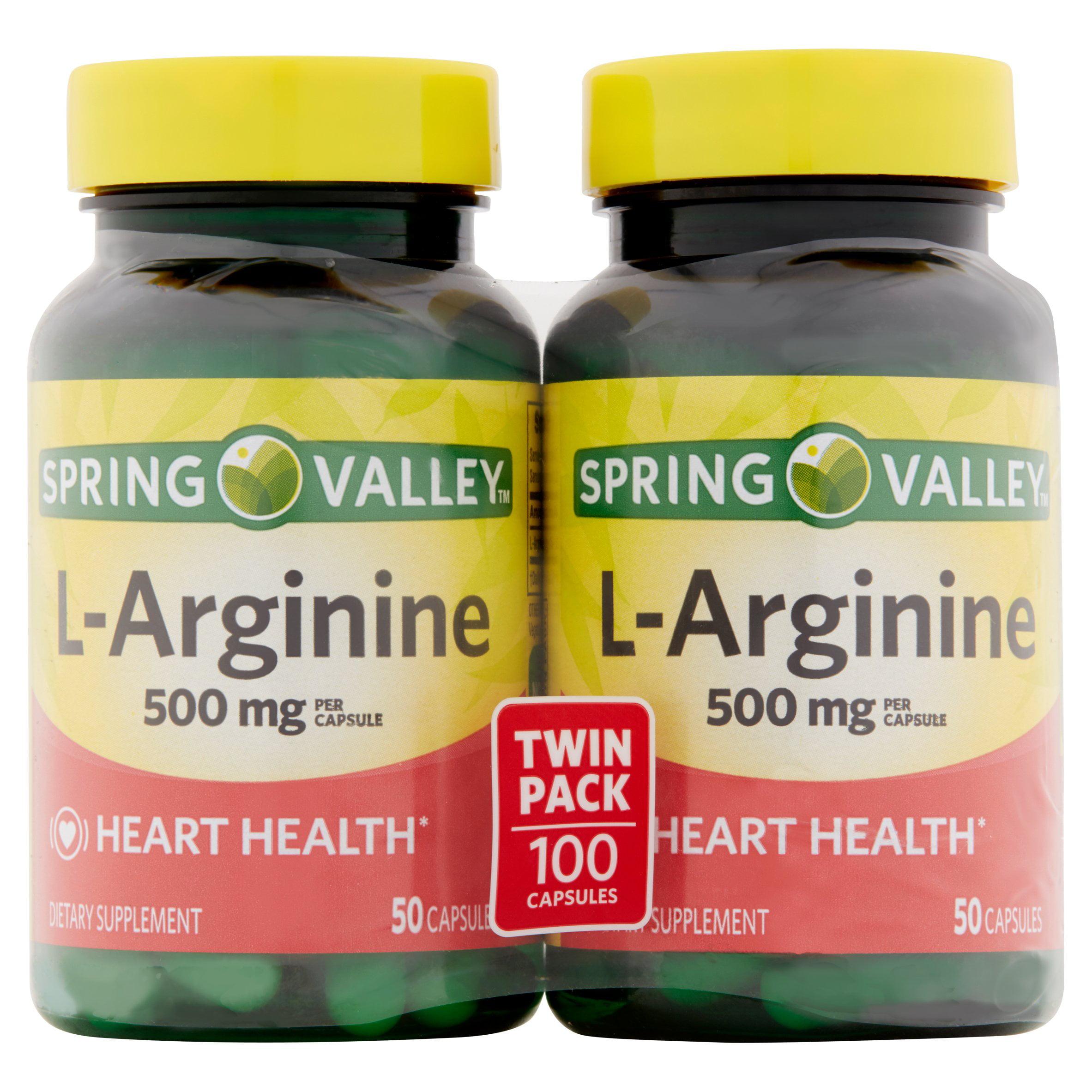 Spring Valley L-Arginine Capsules, 500mg, 100 Ct, 2 Pk
