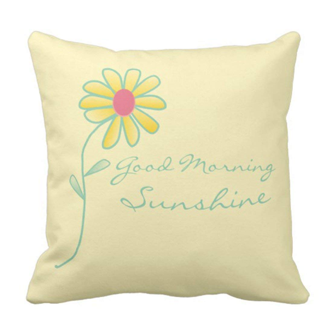 WOPOP Flower Modern Good Morning Sunshine Yellow and Green Chic Pillowcase Cushion Cover 16x16 inches