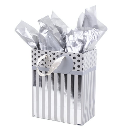 Hallmark Medium Gift Bag with Tissue Paper for Weddings, Engagements, Bridal Showers, Birthdays and More (Silver Stripes)
