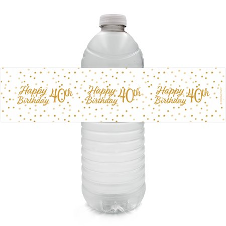 40th Birthday Water Bottle Labels, 24 ct - Adult Birthday Party Supplies White and Gold 40th Birthday Party Decorations Favors - 24 Count Sticker Labels