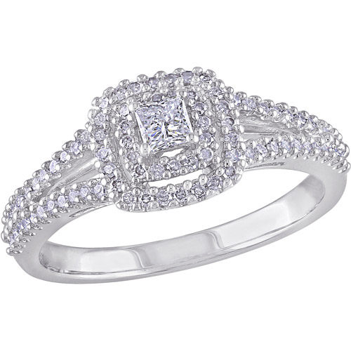3/8 Carat T.W. Princess- and Round-Cut Diamond Sterling Silver Double-Halo Engagement Ring