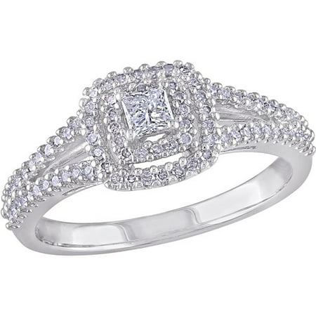 3/8 Carat T.W. Princess- and Round-Cut Diamond Sterling Silver Double-Halo Engagement