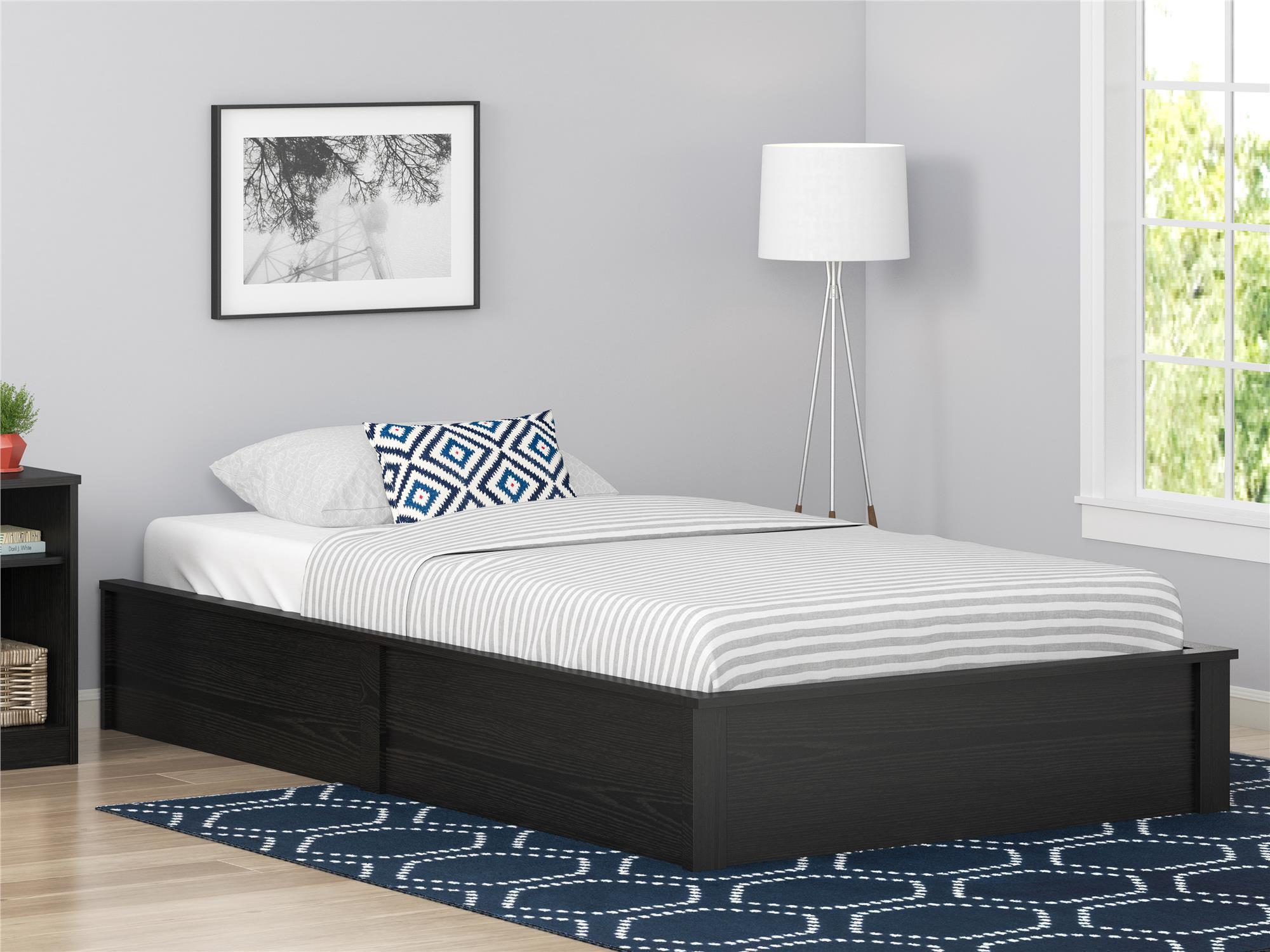 Ameriwood Home Platform Twin Bed Frame Black Oak Walmartcom
