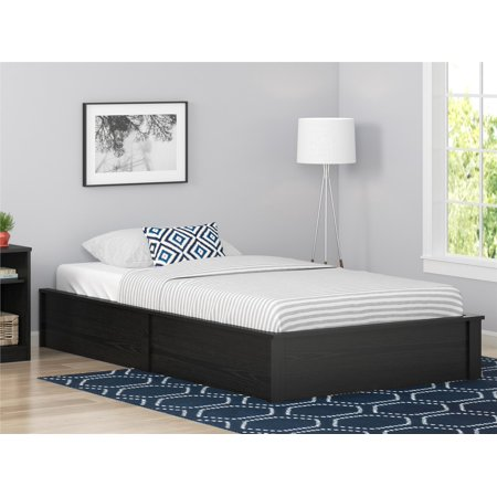 ameriwood home platform bed frame black oak multiple sizes - Black Platform Bed Frame