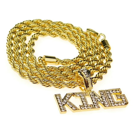 Mens King Rope Chain Iced-Out  Bling Pendant Gold Finish Hip Hop Necklace 24 Inch