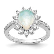 Cheryl M Sterling Silver Rhod-plated CZ & Created Opal Pear Shaped Ring S:7