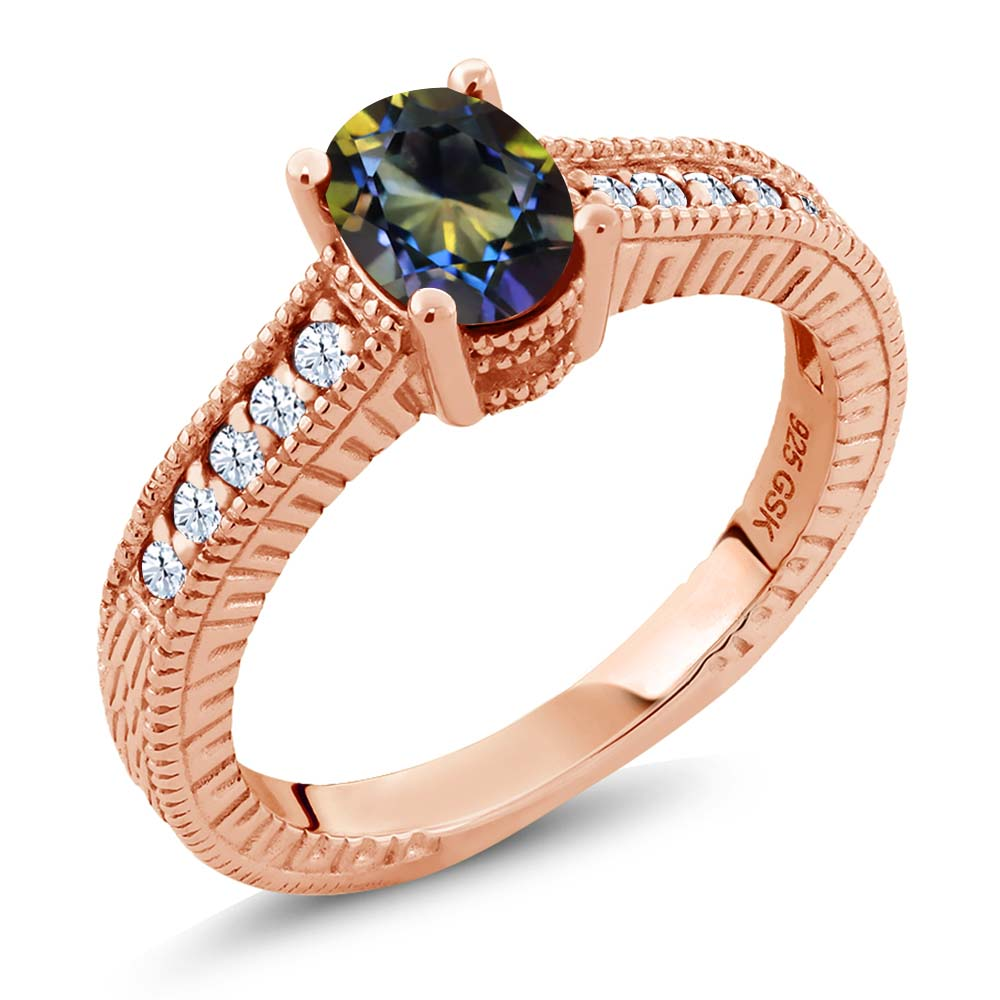 1.35 Ct Oval Blue Mystic Topaz White Topaz 18K Rose Gold Plated Silver Ring