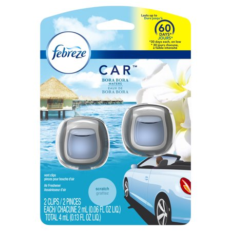Febreze Car Air Freshener Vent Clip, Bora Bora Waters, 2 Count ()
