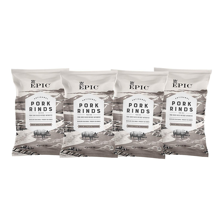 Epic Artisanal Pork Rinds, Sea Salt & Pepper, 2.5 oz. (4 Count)