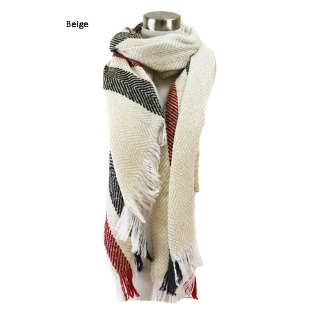 Gray And Black Striped Scarf (Sassy Scarves Womens Multi Color Striped Herringbone Pattern Winter)