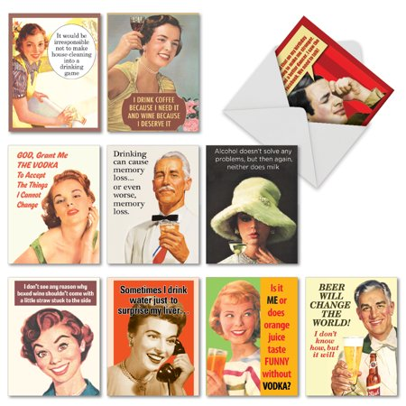 Vintage Assortment ('M6619BDG RETRO TOASTS' 10 Assorted Birthday Cards Featuring an Assortment of Vintage Images with Funny Phrases Related to Drinking, with Envelopes by The Best Card Company )
