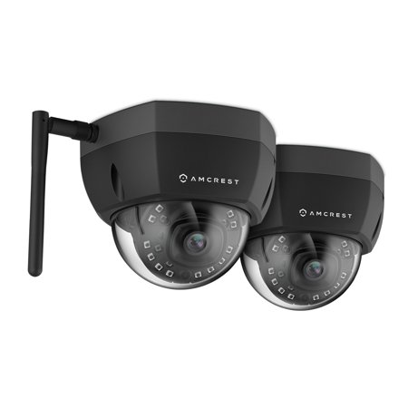 2 Pack Amcrest ProHD Fixed Outdoor 4-Megapixel (2688 x 1520P) Wi-Fi Vandal Dome IP Security Camera - IP67 Weatherproof, IK10 Vandal-Proof, 4MP (2688 x 1520P), IP4M-1028B (Black)