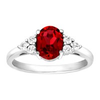Finecraft 1 7/8 ct Created Ruby & Natural White Topaz Ring in Sterling Silver
