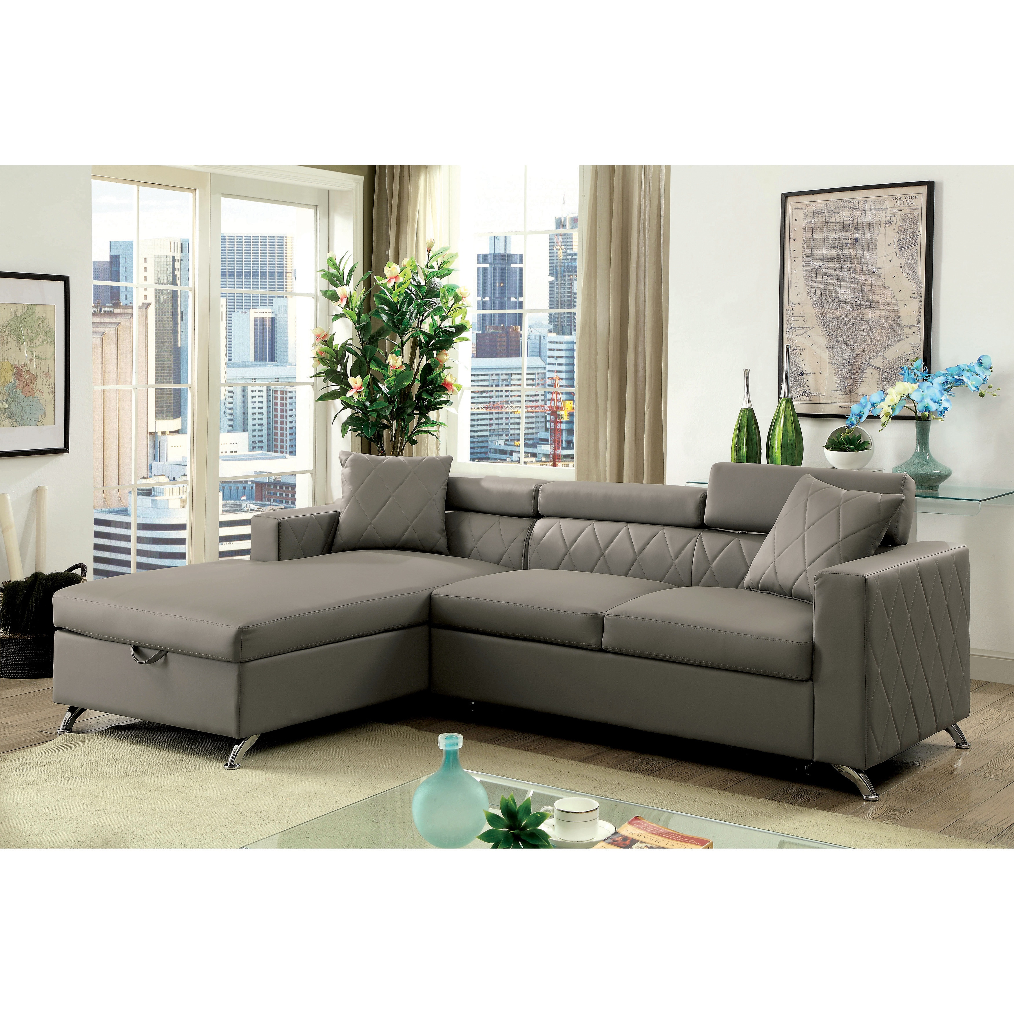 Furniture of America Klenins Contemporary Tufted Grey ...